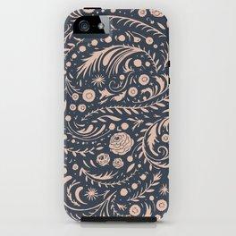 Navy Flora Swirl iPhone Case
