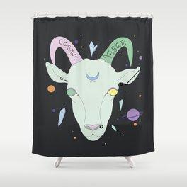 Vegan Cosmic Goat Shower Curtain