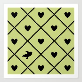 Always Near (from the Valentine set) (colors: legally lime) Art Print