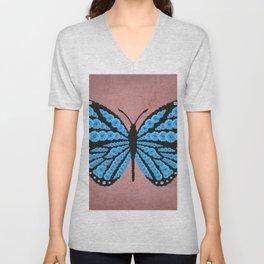 Blue Butterfly Unisex V-Neck
