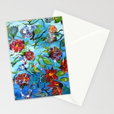 Blue Flower Swirl Stationery Cards
