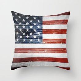American Wooden Flag Throw Pillow