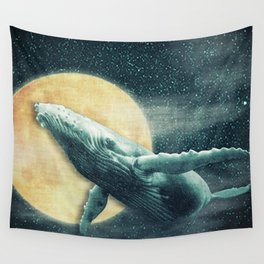 Fantasy Humpback Whale Flying to The Moon Wall Tapestry