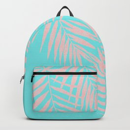 Abstract modern pink Tropical Exotic Palm Leaves on aqua Backpack