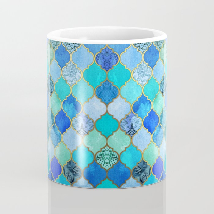 Cobalt Blue Aqua Gold Decorative Moroccan Tile Pattern Coffee
