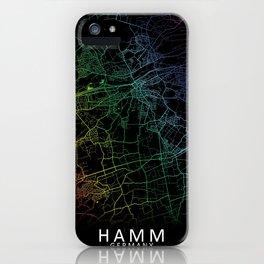 Hamm, Germany, City, Map, Rainbow, Map, Art, Print iPhone Case
