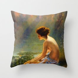 Classical Masterpiece 'Seated Nude by Lily Pond' by Louis Comfort Tiffany Throw Pillow