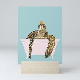 Sea Turtle in Bathtub Mini Art Print