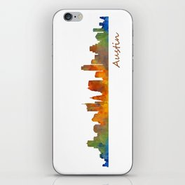 Austin Texas, City Skyline, watercolor  Cityscape Hq v1 iPhone Skin
