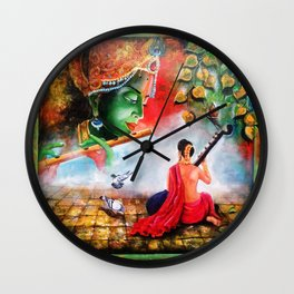 god krishna and meera Wall Clock