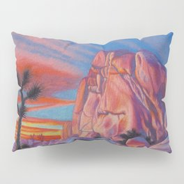 Glowing Joshua Tree sunset as the climbing day draws to a close Pillow Sham