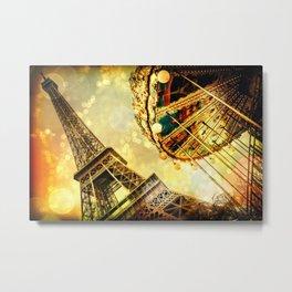 pariS. : Eiffel Tower & Ferris Wheel Metal Print