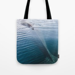 Whale bathing in the Sun of East Greenland Tote Bag