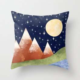 Full Moon In The Mountains Throw Pillow