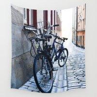 bikes Wall Tapestries featuring Black bikes by biCHICleta