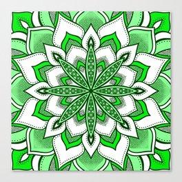 Mandala Flower : Green Canvas Print