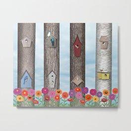birdhouses and zinnias Metal Print
