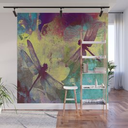 Painting Orchids and Dragonflies Wall Mural