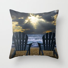 Two Adirondack Deck Chairs on the Beach with Waves crashing on the Shore Throw Pillow