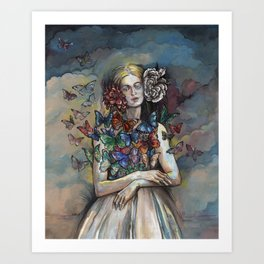 Butterfly Woman. Art Print