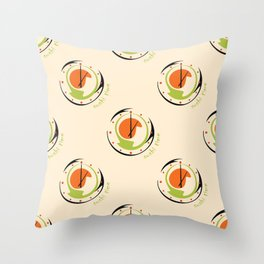 seamless pattern with abstract sushi clock for kitchen Throw Pillow