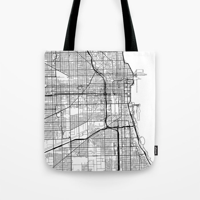 Chicago Map White Tote Bag