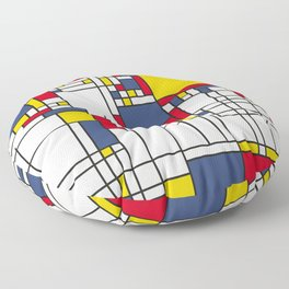 World Map Abstract Mondrian Style Floor Pillow