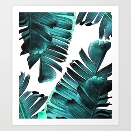 Banana Leaf - Tropical Leaf Print - Botanical Art - Modern Abstract - Blue, Navy, Teal Art Print