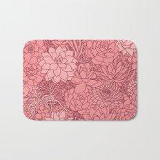 Pink Succulent Heart Bath Mat