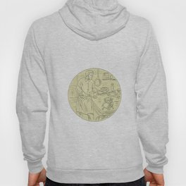 Medieval Cook Kitchen Oval Drawing` Hoody