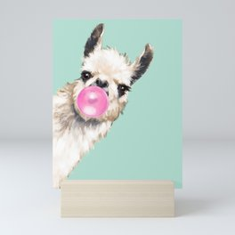 Bubble Gum Sneaky Llama in Green Mini Art Print