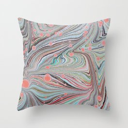 Marbled Multi-color Organic Pattern Throw Pillow