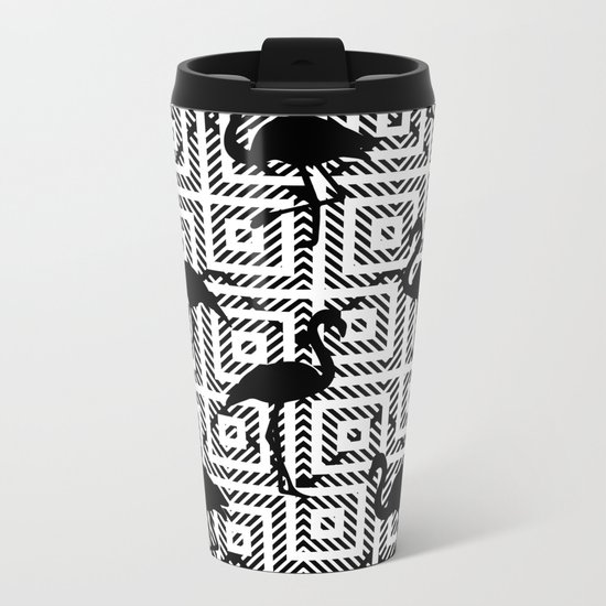 B&W Geometric Flamingos #society6 #decor #buyart Metal Travel Mug