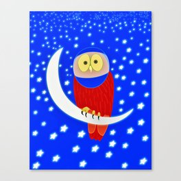 Owl lands on the moon Canvas Print