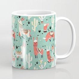 Llamas and cactus in a pot on green Coffee Mug