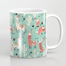 Llamas and cactus in a pot on green Coffee Mug