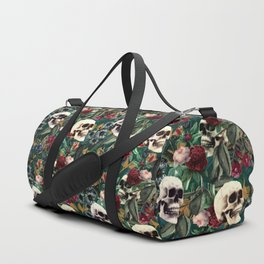 Flowers and Skulls (Green) Duffle Bag