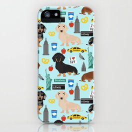 Dachshund dog breed NYC new york city pet pattern doxie coats dapple merle red black and tan iPhone Case