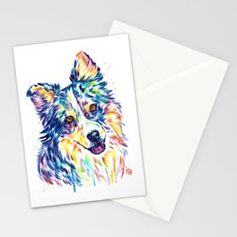Australian Shepherd Watercolor Painting by Lisa Whitehouse Stationery Cards