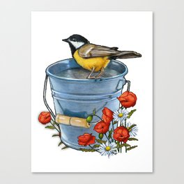 Bird on a Blue Pail with Poppies and Daisies Canvas Print