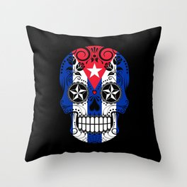 Sugar Skull with Roses and Flag of Cuba Throw Pillow