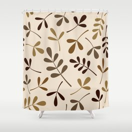 Assorted Leaf Silhouettes Gold Browns Cream Shower Curtain
