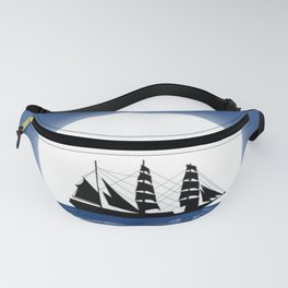 Sailing with Full Moon and Shooting Star Fanny Pack