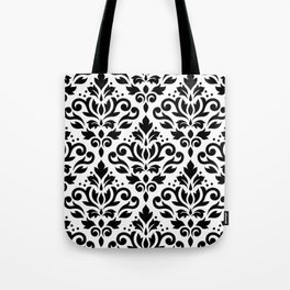 Scroll Damask Big Pattern Black on White Tote Bag