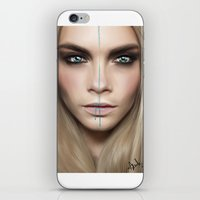 cara iPhone & iPod Skins featuring Cara by Anna Sun