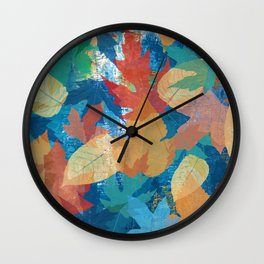 Colorful fall leaves Wall Clock