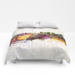 Halifax skyline in watercolor background Comforters