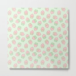 Doodle cupcake pattern on a mint green background Metal Print