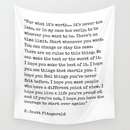 For What Its Worth | F. Scott Fitzgerald Quote Wall Tapestry