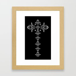 'Faith' - Cross of Lace in black and white Framed Art Print